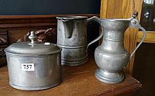 3 pieces 19th pewter inc jug tankard, lidded jug & tea caddy