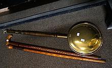 Brass & copper warming pan & 2 walking sticks