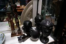 Assorted ebony & stone African & Egyptian figures
