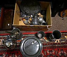 Assorted 18th Century & 19th Century pewter etc inc medicine dsipenser