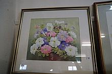 Watercolour of Petunias by Marge wright