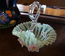 Victorian vaseline glass basket
