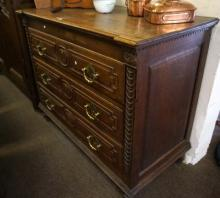 Early C19th French carved oak 3 drawer chest