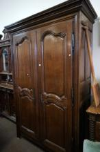 Large French C19th carved oak 2 door armoire