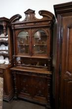 Antique French carved oak & bevilled glass court cabinet