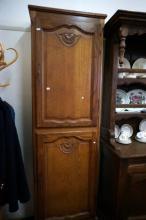 French tall narrow oak 2 door cupboard