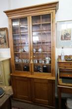 Large Vic pine & oak 2 door bookcase