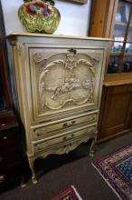 Vintage French white painted & carved panel drop front cabinet with 2 drawe