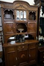 Antique French inlaid oak sideboard