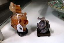 Chinese carved orange & white cornelian lidded vase & purple jade carving o