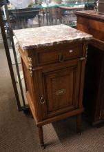 Antique French oak & brass mounted bedside cabinet