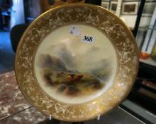 R/Worcester Highland cattle cabinet plate by Stinton, hairline crack