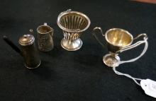 S/silver mini chocolate pot, basket & trophy & 800 silver pot
