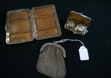 Silver mesh purse & leather sovereign case & purse