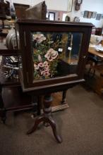 Unusual Vic cedar pedestal mirror sided revolving music cabinet