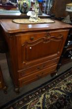 French oak drop front 2 drawer cabinet