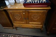 French oak cabinet with lower drawer