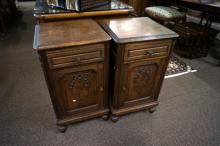 Pr French oak inalid bedside cabinets