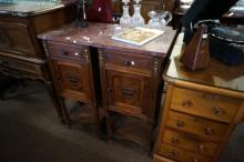Pr French oak marble top bedside cabinets