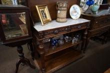 French carved oak servery with lift top
