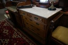 C19th French oak marble top 5 drawer chest