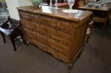 French carved oak shaped front 3 drawer chest