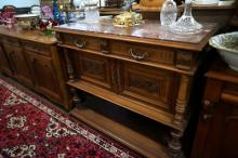 French walnut marble top servery