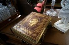 Vic red leather & brass mounted Family Bible