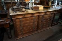 Unusual large C19th French oak cupboard with faux drawer front & 2 upper dr