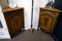 Pr antique French carved oak corner cabinets