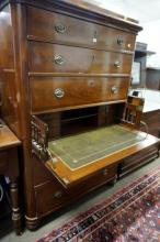 C19th unusual flame mah 6 drawer large chest with central secretaire drawer