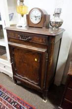 Early C19th French carved oak & burr elm side cabinet