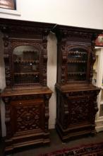 Pr C19th French carved oak court cabinets