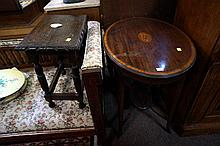 Edwardian mahogany inlaid table & Jacobean small table