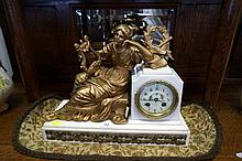 C19th French white marble C19th French white mantle clock with gilt metal reclining lady & h/painted porcelain dial