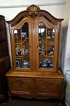 French ornately carved oak 4 door vitrine