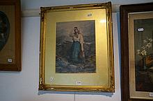 C19th watercolour of Lady seaching, signed Annie Poulter