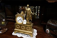 C19th French bronze ormolu mantle clock with Roman figure