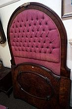 Vic burr walnut queen size bed & rails with hight raised padded back & curved end