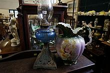 Vic blue glass kero lamp & floral water jug