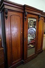 Victorian cedar breakfront 3 sectional wardrobe