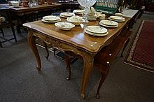French carved oak parquetry top draw leaf dining table, leaves not parquetry