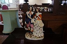 C19th Staffordshire figure of Cavalier with Lady & dog