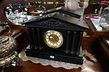 Vic black slate mantle clock with 6 columns