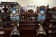 Pr Continental h/painted porcelain & brass vases