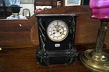 Vic black & green marble exposed escapement mantle clock