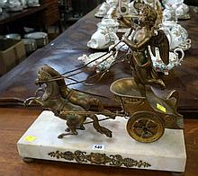C19th bronze & white marble cupid on chariot mantle clock