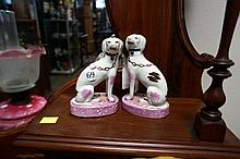 Pr Staffordshire dogs with purple lustre bases