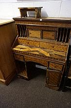 19th Japanese multi wood inlaid pedestal desk of small proportions & folding stand, to restore