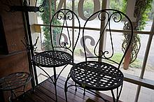 Pr wrought iron outdoor chairs
